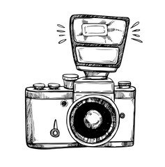 Hand drawn vector illustrations. Retro camera with flash. Photographic equipment. Perfect for invitations, greeting cards, posters, prints