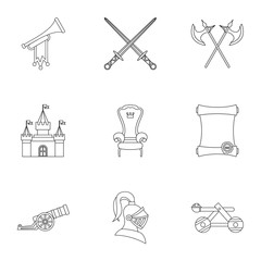 Military middle ages icons set, outline style