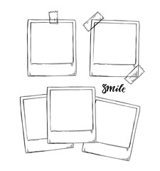 Hand drawn vector illustrations. Instant photos collection. Photo Frame Mock-up. Perfect for invitations, greeting cards, posters, prints