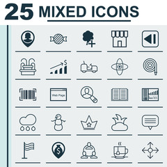 Set Of 25 Universal Editable Icons. Can Be Used For Web, Mobile And App Design. Includes Elements Such As Hot Drink, Spectator, Agrimotor And More.