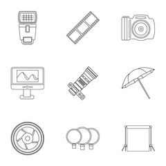 Photographic icons set, outline style
