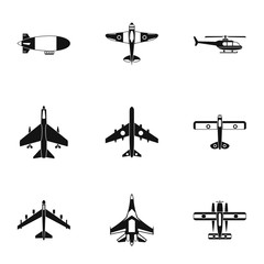 Army planes icons set, simple style