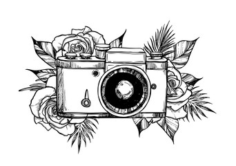 Hand drawn vector illustration - retro camera with flower bouquets. Roses and tropical leaves. Perfect for invitations, greeting cards, posters, prints