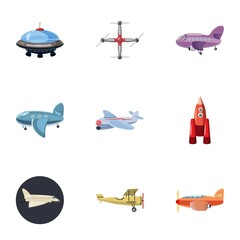 Air transport icons set, cartoon style