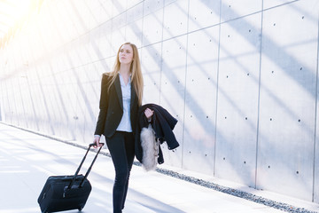 young business woman traveling stock photo