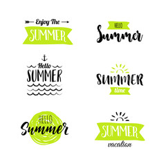 Summer Lettering Design Set. Hand drawn Vector illustration.