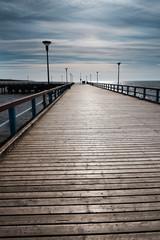 Footbridge in Baltic sea, Palanga, Lithuania.