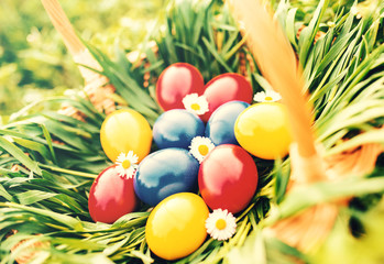 Easter holiday. Colorful Easter eggs  in the basket
