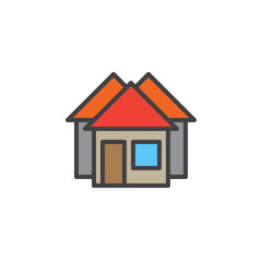 Real estate, houses line icon, filled outline vector sign, linear colorful pictogram isolated on white. Symbol, logo illustration. Editable stroke. Pixel perfect