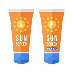 Flat design vector sunscreen bottles, tubes isolated in white background.