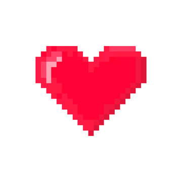 Red pixel heart hit point