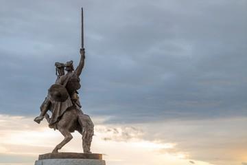 Bratislava, Slovakia - March 19, 2017: King Svatopluk Statue At Bratislava Castle with a sky background at sunset