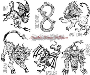 Hand drawn set with heraldic beasts and mythical monsters. Graphic vector illustration. Engraved line art drawings