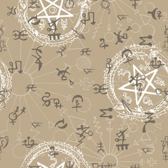 Seamless background with mystic and occult symbols. Graphic vector illustration. Engraved line art drawings