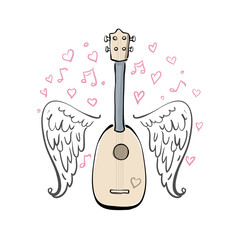 Hand drawn vector illustration with ukulele, sketch wings, hearts and melody