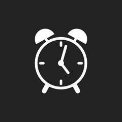 Alarm clock icon. Flat design style. Simple icon on black background. Web site page and mobile app design element