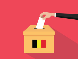 belgium election vote concept illustration with people voter hand gives votes insert to boxes election with long shadow flat style