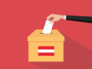 austria election vote concept illustration with people voter hand gives votes insert to boxes election with long shadow flat style