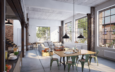 View inside luxury industrial Loft apartment - Blick in Loft bei Sonnenlicht