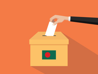 bangladesh vote election concept illustration with people voter hand gives votes insert to boxes election with long shadow flat style