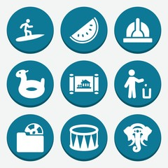 Set of 9 vector filled icons