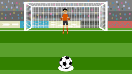penalty shot with goalkeeper at soccer