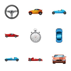 Race and awarding icons set, cartoon style