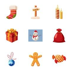 Winter holiday icons set, cartoon style