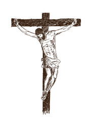 Jesus Christ, the Son of God in a crown of thorns on his head, a symbol of Christianity hand drawn vector illustration.