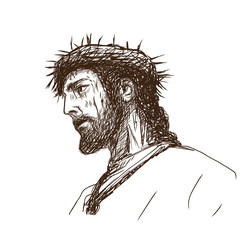 Hand drawn sketch of Jesus Christ with crown of thorns in vector illustration.