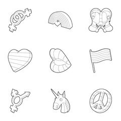 Same-sex love icons set, outline style