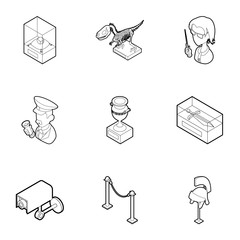 Going to museum icons set, outline style