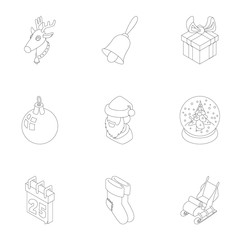 Winter holiday icons set, outline style