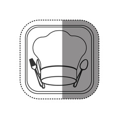 sticker of monochrome rounded square with chef hat and cutlery set vector illustration