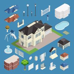 Suburb House Isometric Set