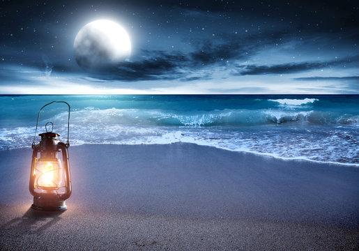 summer photo of beach at night