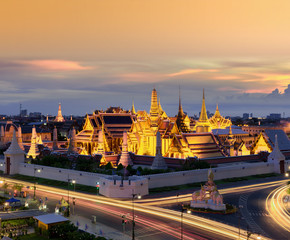The Golden Emerald Buddha at Sunset, Bangkok, Thailand