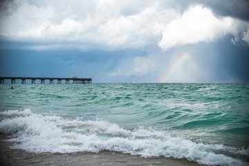 Sea Landscape with Rainbow and Pier