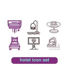 Hotel Service Icon Thin Line Art Set Pixel Perfect Art.
