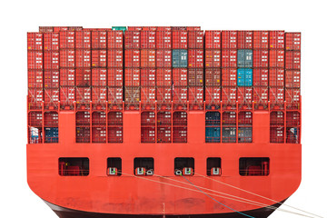 Back of a red container ship in a harbor isolated on white
