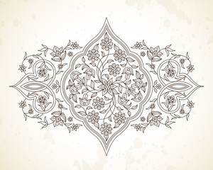 Vector line art decor in Eastern style.