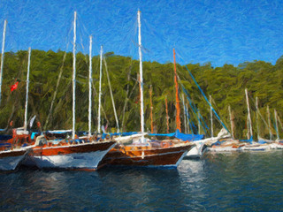 Oil painting. Sea, boats, yachts