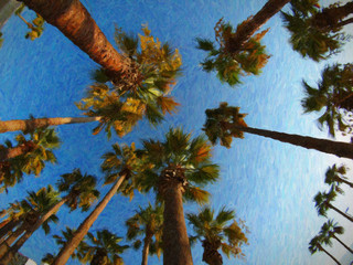 Palm trees. Oil painting.