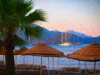 Sea, boats, yachts. Palm trees. Oil painting.
