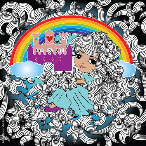 Fairytale seamless pattern. Floral background wallpaper illustration with colorful rainbow, princess castle, little beautiful girl with long curly hairs and flowers. Vector texture for fabric,prints