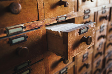 Open vintage file catalog box