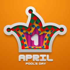 Vector Jester Hat shape. Illustration for April Fool's Day decoration template. Concept design.