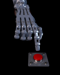 3D illustration of a robot hand about to push a red button. Depicting increased use of artificial intelligence and robotics in every day life.