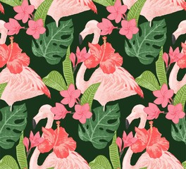 Seamless pattern with flamingoes and flowers