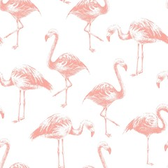 Canvas Prints Seamless pattern with hand drawn flamingoes